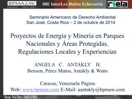 ANGELA Costa Rica- Proyectos energía en Parques