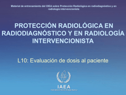 Evaluación de dosis al paciente - (RPOP) IAEA Radiation Protection