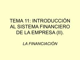 Introducción al sistema financiero de la empresa II