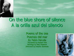 On the blue shore of silence A la orilla azul del silencio