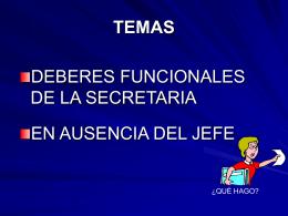 Deberes funcionales de la secretaria en ausencia del jefe.