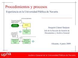 Procedimientos y procesos. Experiencia en la Universidad Pública