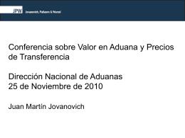 Presentación Jovanovich - Dirección Nacional de Aduanas