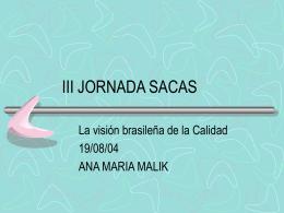 III JORNADA SACAS - Sociedad Argentina para la Calidad en la