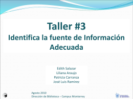 Taller #3 Identifica la fuente de Información Adecuada