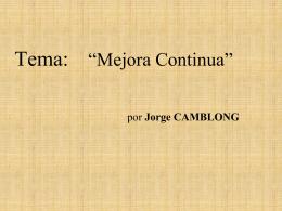 """Monografía Tema: """"Mejora Continua"""" Aplicación en"""