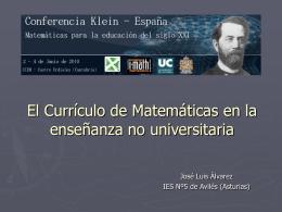 El Currículo de Matemáticas en la enseñanza no
