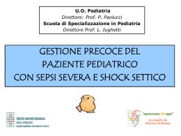gestione precoce del paziente pediatrico con sepsi severa e shock