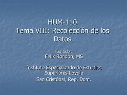 Profesor Rondon Tema 8 Recolección de Datos