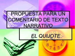 PROPUESTA PARA UN COMENTARIO DE TEXTO NARRATIVO