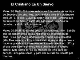 El Cristiano Es Un Siervo