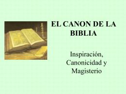 EL CANON DE LA BIBLIA