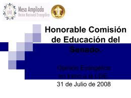 Honorable Comisión de Educación del Senado.