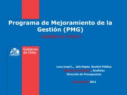 4. Programa Marco PMG 2011 - Dirección de Presupuestos
