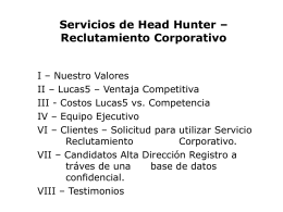 Servicios de Head Hunter – Reclutamiento Corporativo