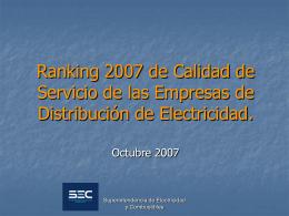 Ranking año 2007 - Superintendencia de Electricidad y Combustibles