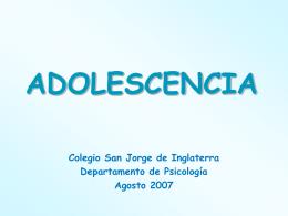 Adolescencia - Inicio - Colegio San Jorge de Inglaterra