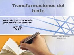 Transformaciones del texto