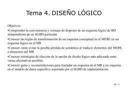 Diseño Lógico (EEE -> Relacional) - Departamento de Informática y