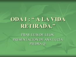 ODA I , A LA VIDA RETIRADA