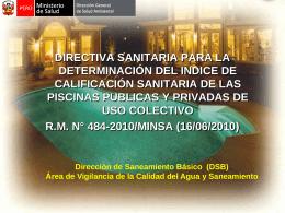 Directiva Sanitaria de Piscinas Publicas y Privadas