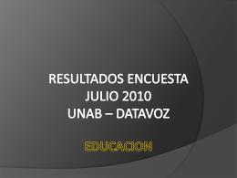 RESULTADOS ENCUESTA JULIO 2010 UNAB – DATAVOZ