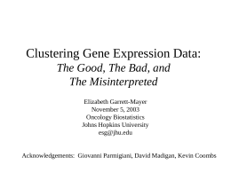 Clustering Gene Expression Data: The Good, The Bad, and The