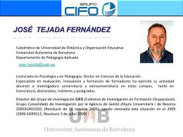 Dr. José Tejada Fernández - DIM-UAB