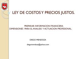LEY DE COSTOS Y PRECIOS JUSTOS - DIEGO