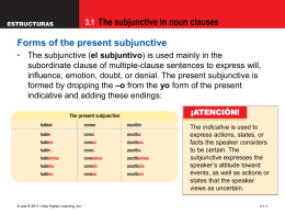3.1 The subjunctive in noun clauses