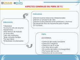 ASPECTOS GENERALES DEL PERFIL DE T.S.