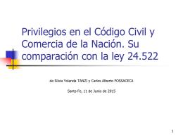 Privilegios en el Código Civil y Comercia de la Nación. Su