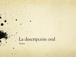 Ejemplo de descripción oral