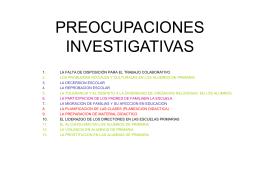 PREOCUPACIONES INVESTIGATIVAS