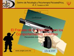 El fRacazo de la Conciencia en los comportamientos agresivos