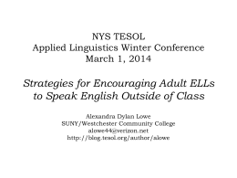 Strategies for encouraging adult ELLs to speak English