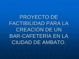proyecto de factibilidad para la creación de un bar