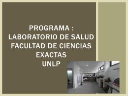 Programa de Salud Facultad de Ciencias Exactas UNLP