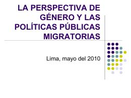 La perspectiva de género y las políticas públicas migratorias