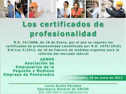 Los certificados de profesionalidad y Prácticas no