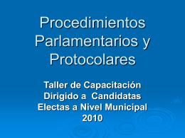 Procedimientos Parlamentarios y Protocolares