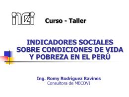 Indicadores Sociales sobre Condiciones de Vida y Pobreza