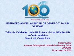 reduciendo inequidades de genero en salud en centroamérica plan