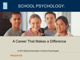 School Psychology: A Career That Makes a Difference