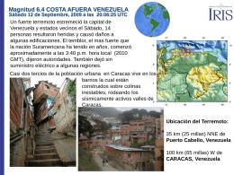 Magnitud 6.4 COSTA AFUERA VENEZUELA Sábado 12 de