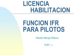 LICENCIA HABILITACION FUNCION IFR PARA PILOTOS