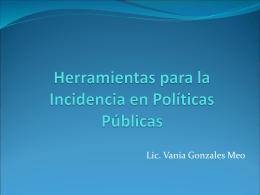 Herramientas para la Incidencia en Políticas Públicas