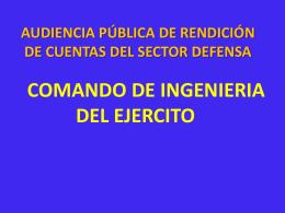 COMANDO DE INGENIERIA DEL EJERCITO AUDIENCIA PÚBLICA