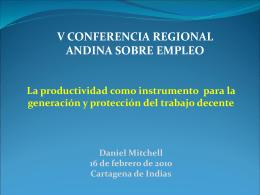 Un estudio sobre la productividad laboral en Colombia Daniel Mitchell