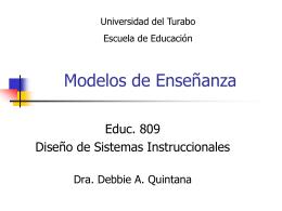 Modelos de Enseñanza - Dra. Debbie Ann Quintana